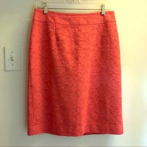 Banana Republic Coral Floral Jacquard Pencil Skirt
